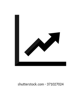 growing graph  - black vector icon