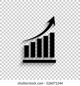 growing graph - black vector  icon with shadow