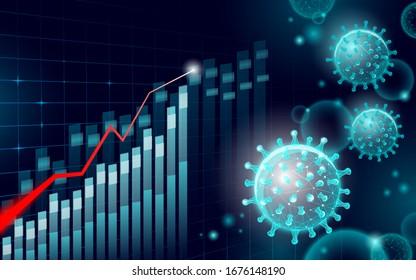 Growing graph coronavirus stats. Infection pneumonia hazard outbreak. 3D point low poly. International design. Against virus epidemic vector illustration