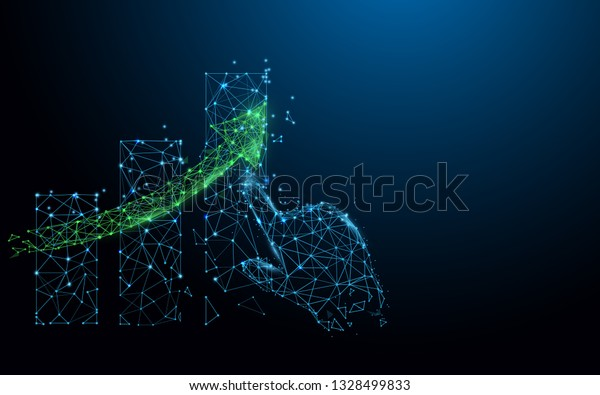 Growing graph and hand from lines, triangles and particle style design. Illustration vector