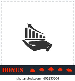 Growing graph holding by hand icon flat. Simple vector symbol and bonus icon