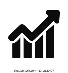 Growing graph Icon. Black Business Pictogram. Vector illustration.