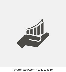 Growing graph icon on the hand. Fill vector icon.