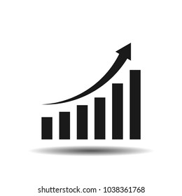 Growing graph icon, with shadow, on the white background. Vector.