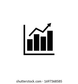 growing graph icon, growing graph sign and symbol vector Design