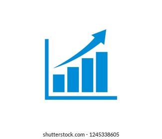 Growing graph icon symbol vector