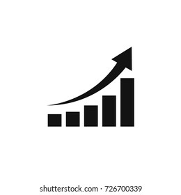 Growing graph icon, vector isolated flat style symbol.