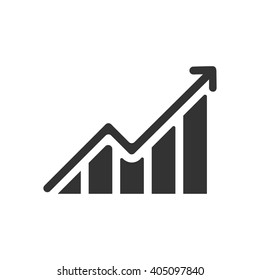 Growing graph icon vector, solid illustration, pictogram isolated on white