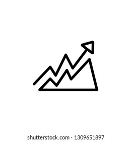 Growing Graph Line Icon In Flat Style Vector For App, UI, Websites. Black Icon Vector Illustration.