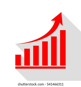 Growing graph sign. Red icon with flat style shadow path.