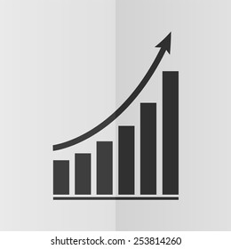 Growing graph vector icon. Effect of folded paper. Flat design