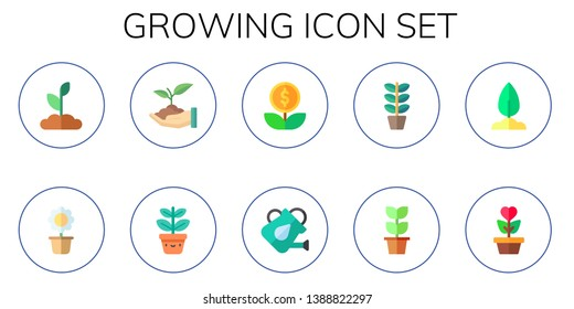 growing icon set. 10 flat growing icons.  Simple modern icons about  - sprouts, flower pot, sprout, growth, watering can, plant