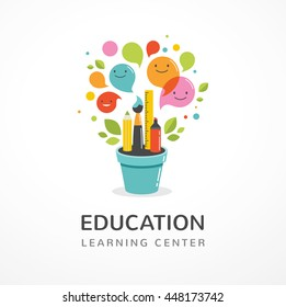 Growing idea - education, creativity and science concept illustration, poster - Shutterstock ID 448173742