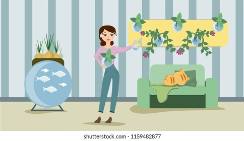 Growing indoor plants and vegetables in the house. Smart farm indoors. Eco farm with aquaponics system of planting vegetables. Vector illustration.