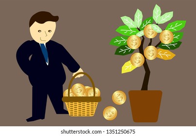 Growing money tree vector illustration. Businessman harvesting money tree