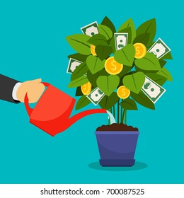 Growing money tree vector illustration. Businessman hand watering money tree
