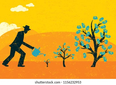 Growing Money Trees. A businessman watering money trees over an abstract landscape background.