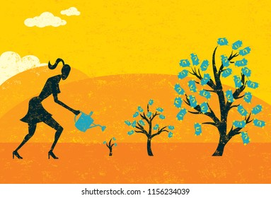 Growing Money Trees. A businesswoman watering money trees over an abstract landscape background.