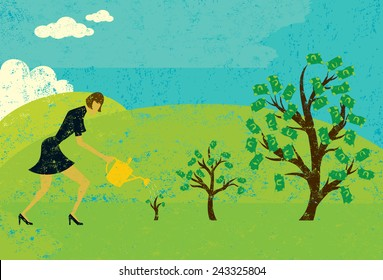 Growing Money Trees A businesswoman watering money trees over an abstract landscape background. The woman and trees are on a separate layer from the background.