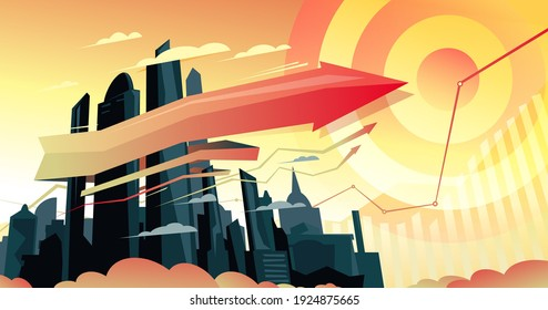 Growing morning metropolis vector illustration with ribbon arrow and target, economic development design concept with charts. Futuristic urban architecture.