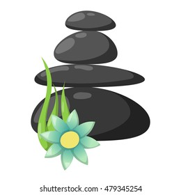 Growing piled up pebbles on white background