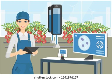 Growing plants in the greenhouse. Smart farm with wireless control. Eco farm with aquaponics system and irrigation system. Technology in agriculture. Vector illustration.