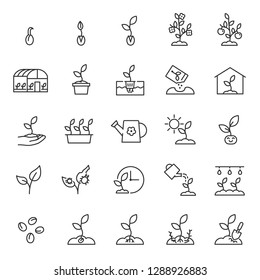 Growing plants. Sprout in the ground. Farming and gardening, icon set. Sprout care, linear icons. Plant in the ground, greenhouse and hydroponic systems. Line with editable stroke