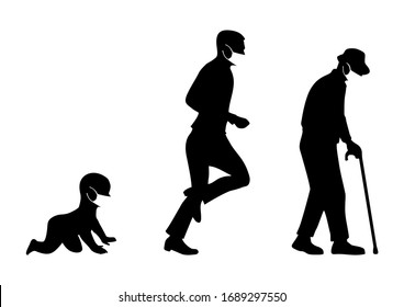 Growing stages of the boy to a man and grandfather in medical face mask. Side view. Vector black flat icon isolated on white background. Hand drawn design element for poster coronavirus quarantine