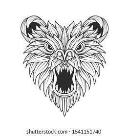 Growling bear head hand drawn vector linear illustration. Tribal animal outline drawing. Black and white mascot clipart. Wildlife ink pen ethnic totem. Coloring book isolated design element