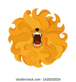 Growling lion head surrounded by waving orange mane with a top view. Paper cut and cardboard style.