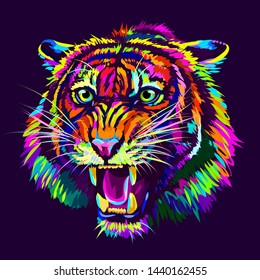 Growling Tiger. Abstract, multicolored portrait of a snarling neon tiger on a dark purple background.