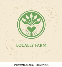 Grown with love. Logo for locally farm. Vector template logo. Farm products. Growing plants and seedlings. Planted in the ground sprouts,care of plants.