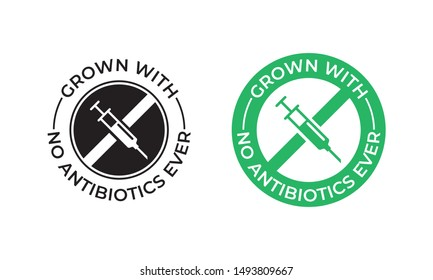 Grown with no antibiotics food label stamp, no hormones chicken and beef or pork meat vector logo. Natural healthy farm grown antibiotics free products certificate with syringe icon