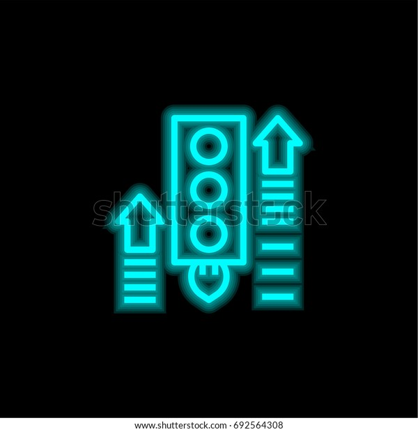 Growth blue glowing neon ui ux icon. Glowing sign logo vector