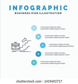 Growth, Business, Career, Leader, Leadership, Personal, Success Line icon with 5 steps presentation infographics Background