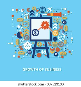 Growth of business concept design on blue background,clean vector