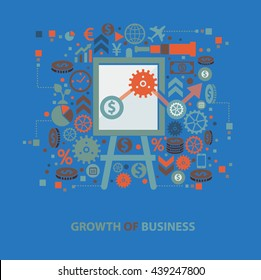 Growth business concept design on blue background,vector