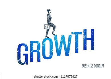 Growth. Business lady climbs the ladder consisting of large letters. Vector business concept illustration, hand drawn sketch.