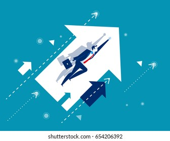 Growth. Businessman flying and arrows. Concept business vector illustration.