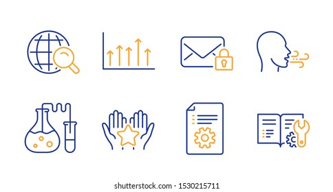 Growth chart, Breathing exercise and Secure mail line icons set. Ranking, Internet search and Technical documentation signs. Chemistry lab, Engineering documentation symbols. Vector