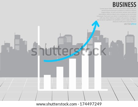 Growth Chart Building Background Vector Illustration Stock Vector