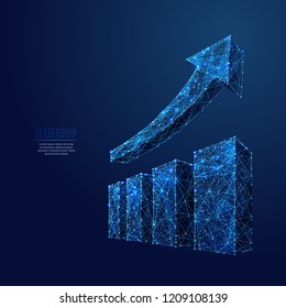 Growth chart. Business Technological concept. Polygonal abstract science illustration. Low poly blue vector illustration of a starry sky or Cosmos. Vector image in RGB Color mode.