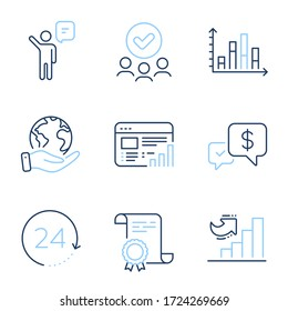 Growth chart, Diagram graph and Web report line icons set. Diploma certificate, save planet, group of people. Agent, 24 hours and Payment received signs. Vector