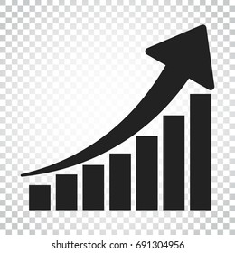 Growth chart icon. Grow diagram flat vector illustration. Business concept simple flat pictogram on isolated background.