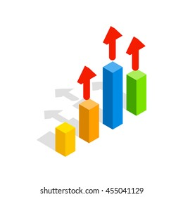 Growth chart icon in isometric 3d style isolated on white background. Presentation symbol