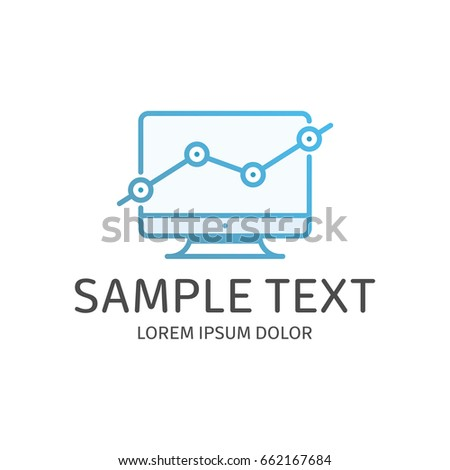 Growth Chart On Monitor Logo Template Stock Vector Royalty Free