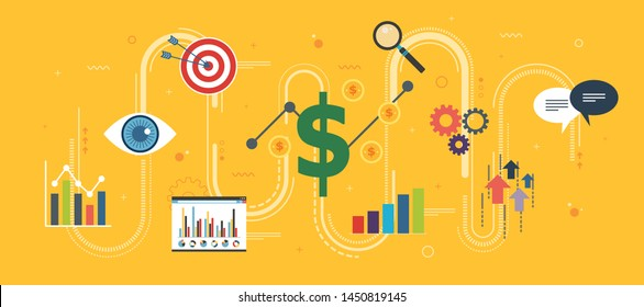 Growth chart, startup sucess and money profit. Business, growth, chart and finance icons. Startup and sucess growth internet banner concept in flat design vector illustration in yellow background.