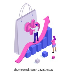 Growth chart stats, big sale, sellout, retail, Black Friday discount. Investors and traders achieve their goals. Vector isometric illustration.