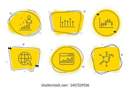 Growth chart, Stats and Chemical formula signs. Chat bubbles. Internet, Marketing statistics and Candlestick graph line icons set. World web, Web analytics, Finance chart. Upper arrows. Vector
