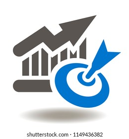 Growth chart with target icon vector. Goal success business illustration. Increase graph and purpose sign.